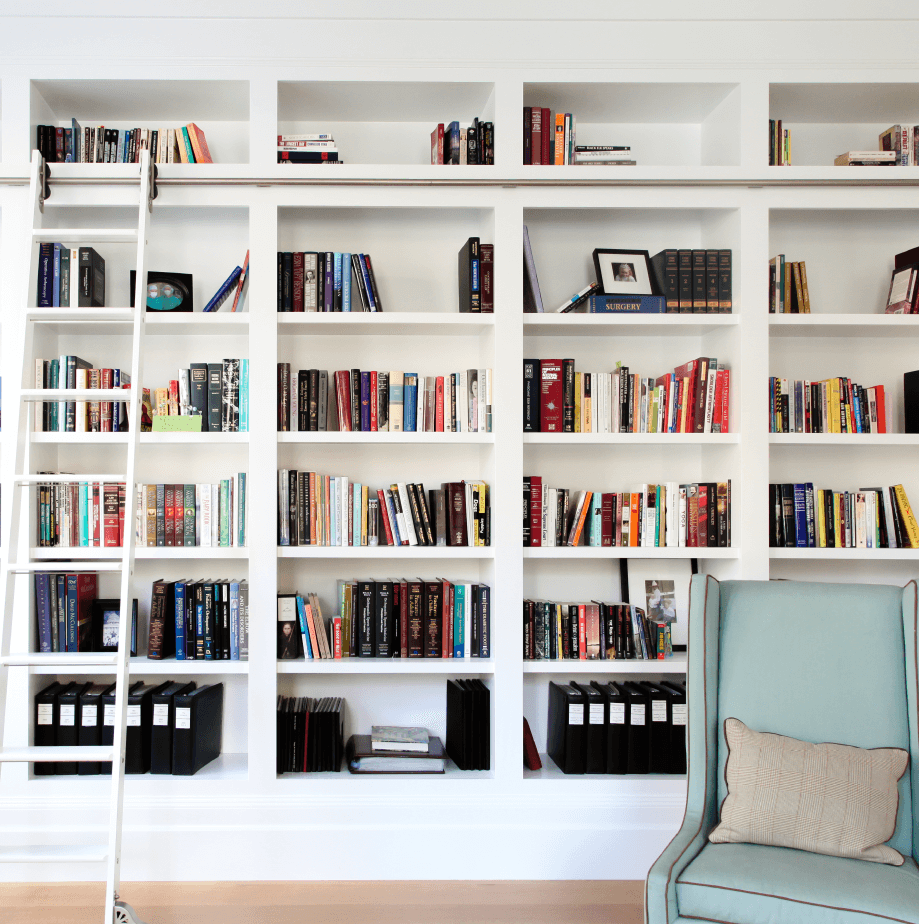 White on White Library - Benjamin Blackwelder Cabinetry